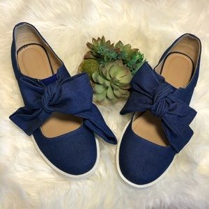 ASOS | Denim Bow Chunky Heel Slip On Shoes Sz 10